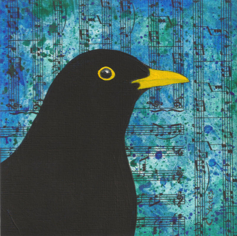 Catriona Yates | Blackbird painting on musical notes background