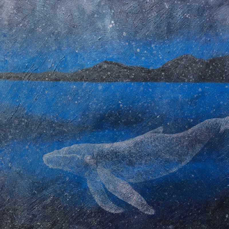 Catriona Yates | Deep Blue painting with silver whale