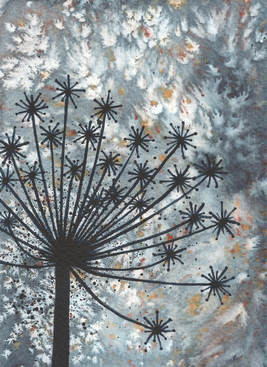 Catriona Yates | Sparkle seedhead painting on watercolour background