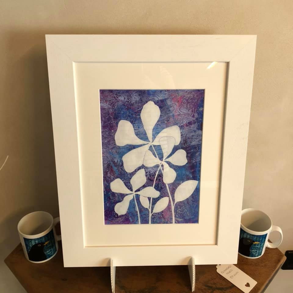 Catriona Yates | White Blooms painting with textured purple and blue background