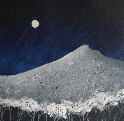 Catriona Yates | Winter's Night painting with hill landscape against a dark sky and full moon